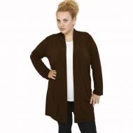 B21-142 Classic long cardigan - Brown