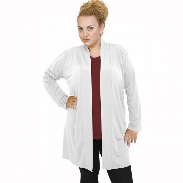 B21-142 Classic long cardigan - White