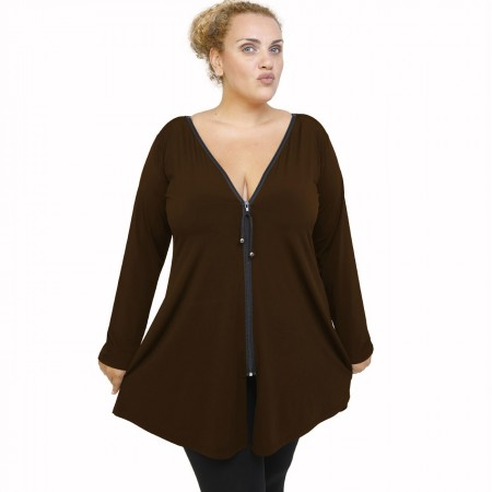 B21-176F Blousedress with zipper - Brown
