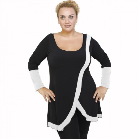 B21-197 Blousedress with pattern - White