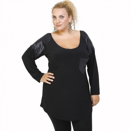 B21-2279TS Classic blouse with pocket - Blue - Black