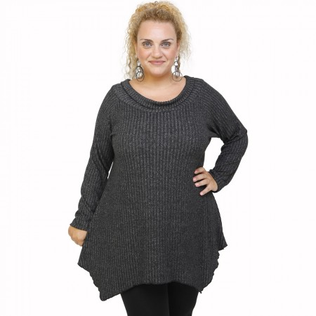 B21-2523AKZ Knitted alpha blouse - Grey