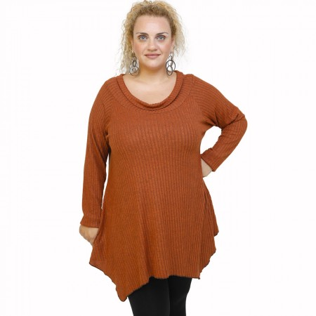 B21-2523AKZ Knitted alpha blouse - Rust