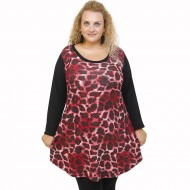 B21-2876 Knitted blousedress with pattern - Bordeaux