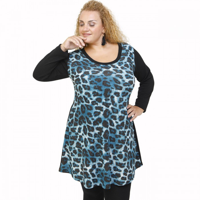 B21-2876 Knitted blousedress with pattern - Petrol