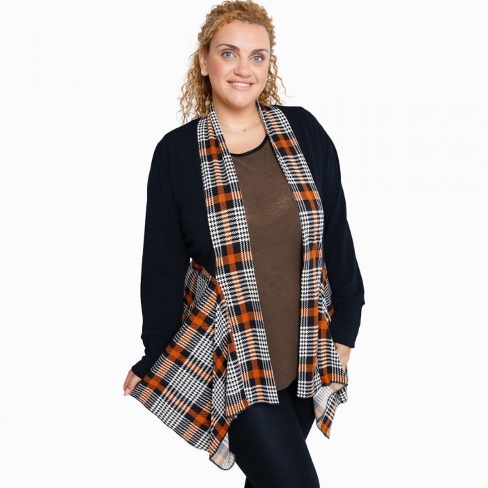 B21-3841 Asymmetric knitted cardigan with pattern - Rust