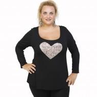 B21-5008LK Evaze blouse with heart - Beige