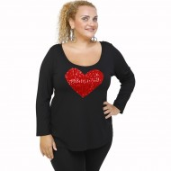 B21-5008LK Evaze blouse with heart - Red