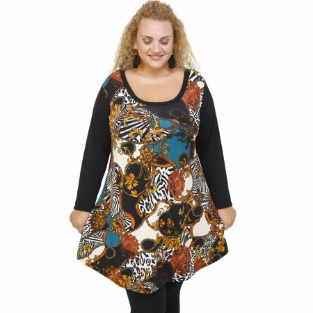 B21-5376 Knitted blousedress with pattern