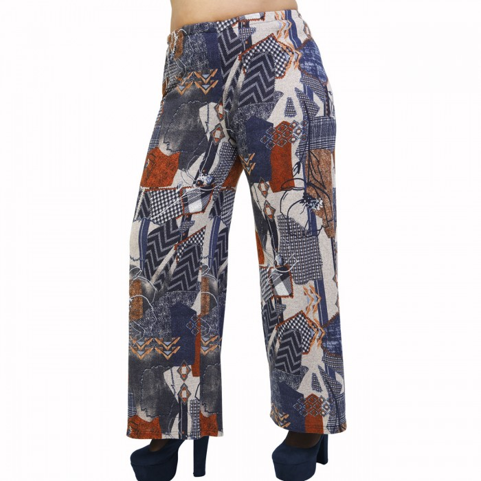 B21-5767 Knitted culotte with elastic band and pattern