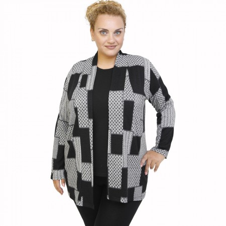 B21-5840 Classic knitted cardigan with pattern
