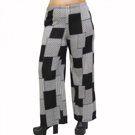 B21-5867 Knitted culotte with elastic band and pattern