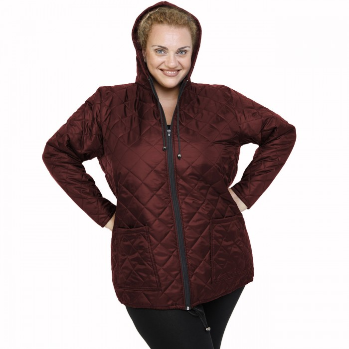B21-6629 Jacket with zipper and hood - Bordeaux