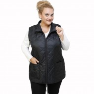 B21-6629AG Sleeveless jacket with zipper and collar - Black