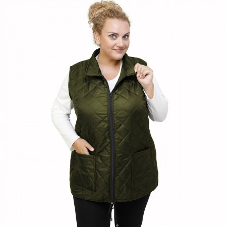 B21-6629AG Sleeveless jacket with zipper and collar - Cypress Green