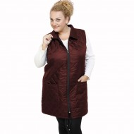 B21-6629AM Sleeveless long jacket with zipper and collar - Bordeaux