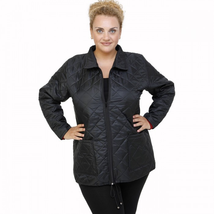 B21-6629G Jacket with zipper and collar - Black