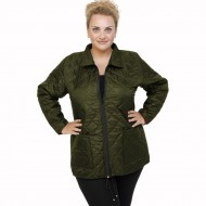 B21-6629G Jacket with zipper and collar - Cypress Green