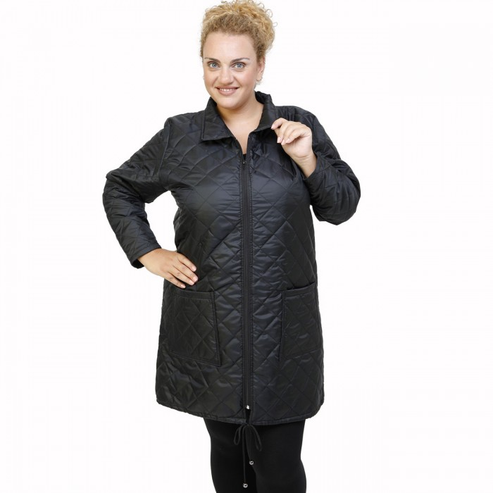 B21-6629M Long jacket with zipper and collar - Black