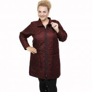 B21-6629M Long jacket with zipper and collar - Bordeaux