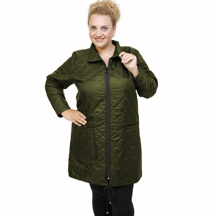 B21-6629M Long jacket with zipper and collar - Cypress Green