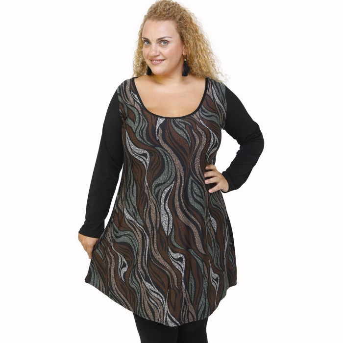 B21-8676 Blousedress with pattern - Brown